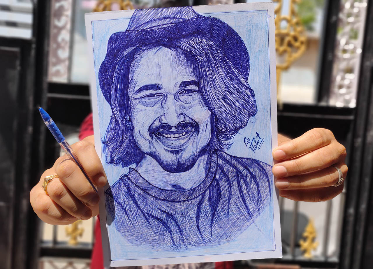 Ball pen sketch of Popular Indian Youtuber Bhuvan Bam