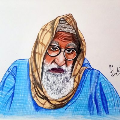 Sketch of Amitabh Bachchan from Gulabo Sitabo